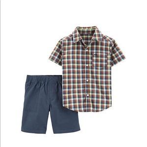 Baby Boy Plaid Shirt and Short Set